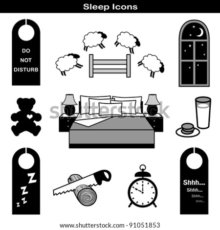 vector - Sleep Icons: Teddy bear, comfy bed, pillow, nightstand, lamp, night window, counting sheep, milk, cookies, door hangers: do not disturb, zzz, shh, saw log, alarm clock. EPS8 compatible.