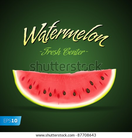 Vector. Slice of nice fresh watermelon on green background