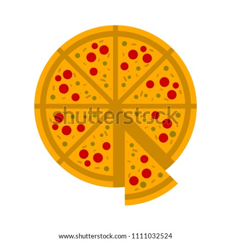 vector slice of pizza - fast italian food icon - restaurant menu