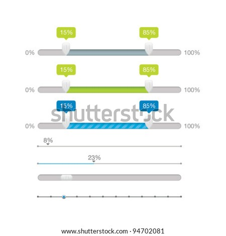 Vector Sliders Scroll bars Set