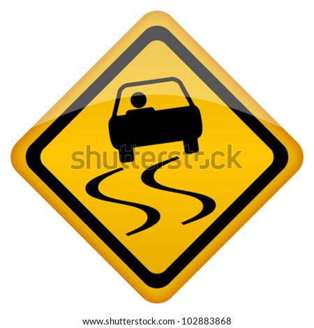 Vector slippery road sign, eps10 illustration