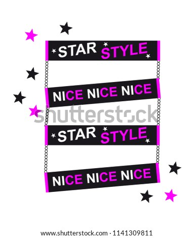 vector slogan, chain star style strip, chain with nice strip, clipboard