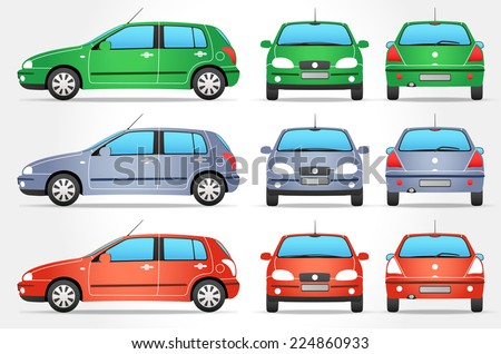 vector small car   side   front
