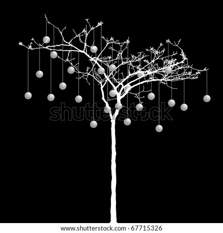vector small naked tree with balls