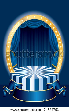 vector small oval circus stage with blue curtain and blank banner