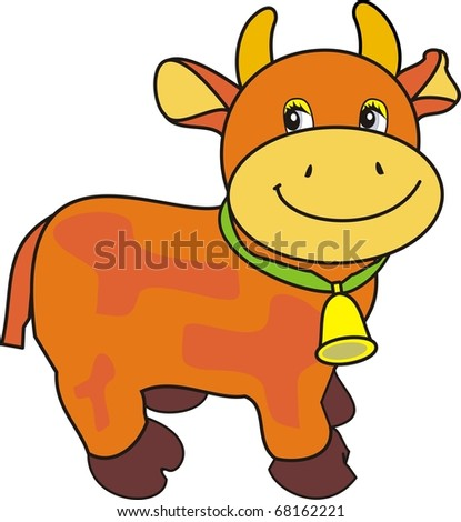 Vector Small ridiculous cow with bell on green strap - isolated cartoon illustration on white background, toy