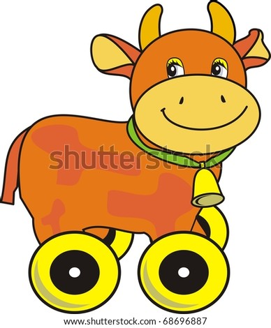 Vector Small ridiculous cow with bell on green strap - isolated cartoon vector illustration on white background,  toy on wheels