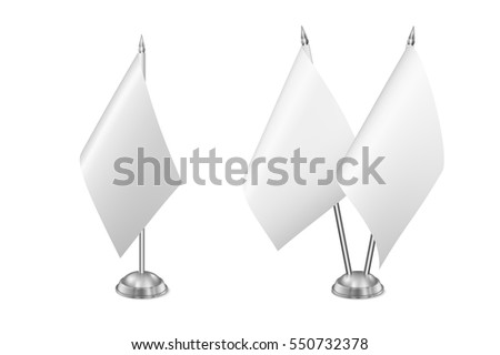 Vector small table flag set, isolated on white background.