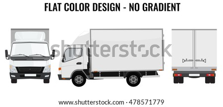 Vector small truck front view back view and side view. Cargo delivery. Solid and Flat color design. White truck car for transportation. Corporate identity.