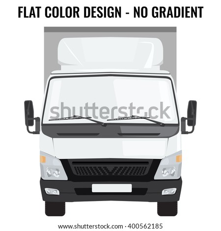 Vector small truck front view. Cargo delivery. Solid and Flat color  design. White truck car for transportation. Corporate identity.