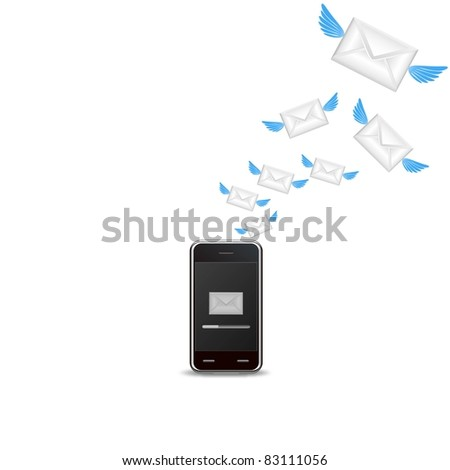 vector smart phone sending email