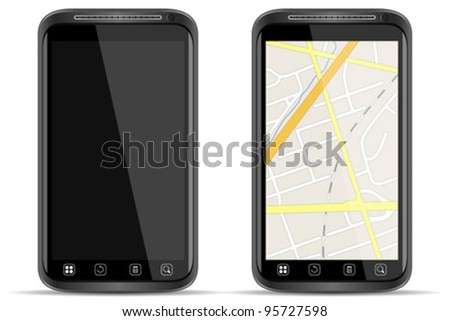 Vector Smart Phone with map on white background