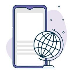 vector smartphone icon with globe icon