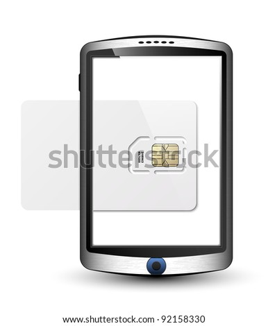 Vector Smartphone in original design with blank white sim card