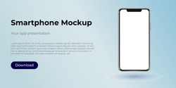 Vector smartphone mockup. 3D illustration of a modern cell phone with frameless blank screen. Template for infographics, websites, landing pages, apps, presentation UI design interface.