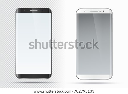 Vector smartphone mockup with blank screen. Realistic detailed black and white cellphone, smart phone