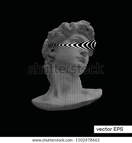 Vector smeared vertical line halftone black and white illustration of classical roman and greek statue bust of male figure from 3D rendering.