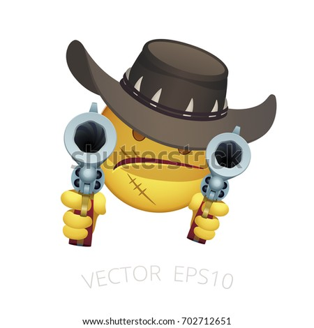 Vector smiley of a Wild West gunslinger. Emoji avatar of a retro western Bounty Hunter in a cowboy hat with a claws. Cartoon head of malicious cowboy gunman aiming with antique Colt Walker revolvers.