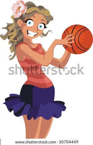 a cartoon girl playing basketball