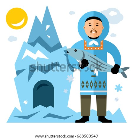 vector smiling eskimo with fish