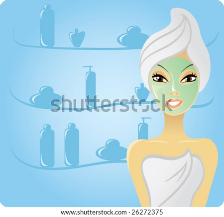 Vector smiling girl with facial mask