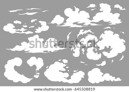 Vector smoke special effects template. Steam clouds, fog, watery vapour or dust explosion 2D VFX clipart elements for game, print, advertising and web design