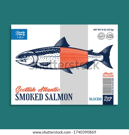 Vector smoked salmon package design concept. Modern style seafood label. Salmon fish illustration
