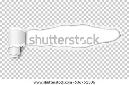 Vector snatched window in piece of transparent paper with torn edges and paper curl. White resulting window with space for text, copy or ad. Template paper design.