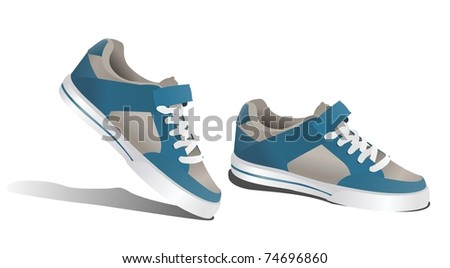 vector sneakers isolated on white background - stock vector