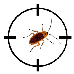 Vector sniper target to kill cockroach pests. Sniper and cockroach target icon