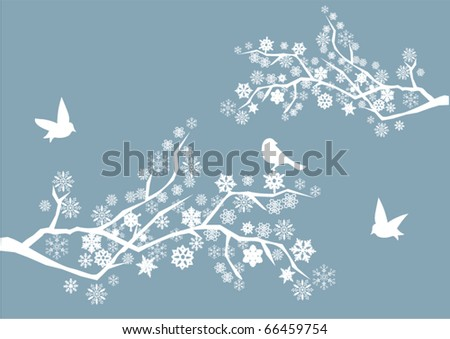 vector snow branches with birds