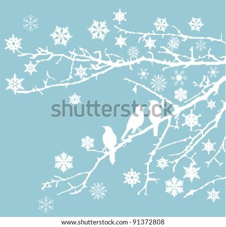 vector snow branches with birds and snowflakes