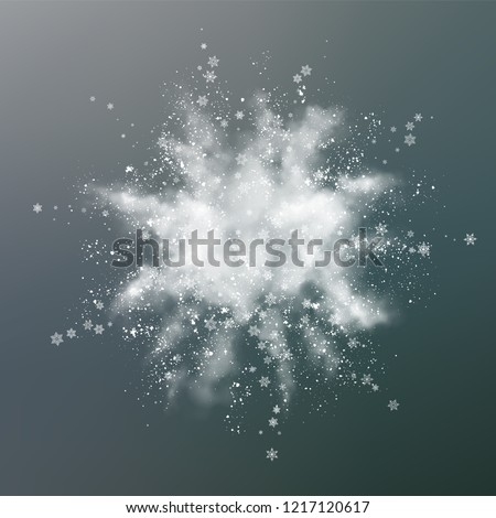 Vector snow explosion. Abstract design of white powder transparent cloud and snowflakes. Blast of white powder