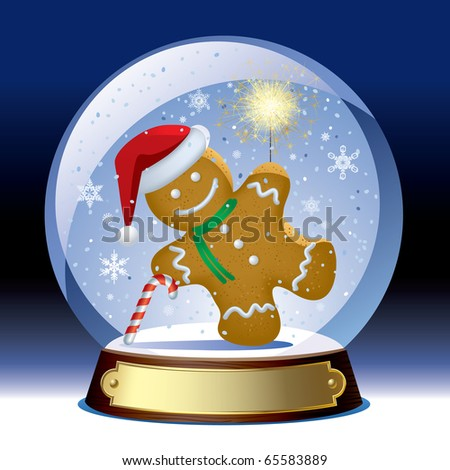 Vector snow globe with a gingerbread man with a sparkler within
