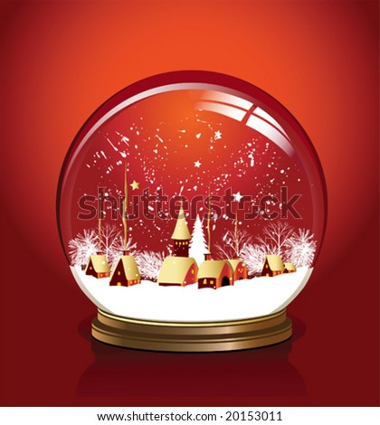 Vector snow globe with a town in red color vector illustration