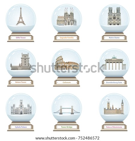 vector snow globes with
