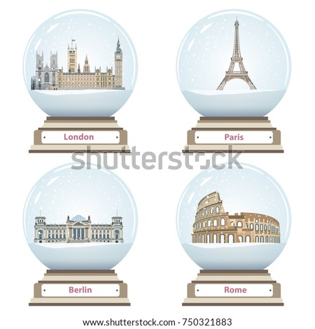 vector snow globes with london