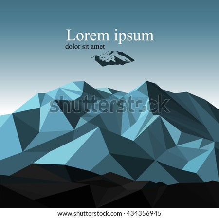 vector snow mountains peak