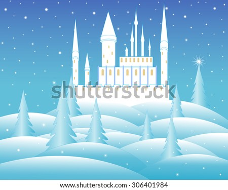 vector snow queen's castle at