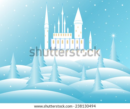 vector snow queen's castle in