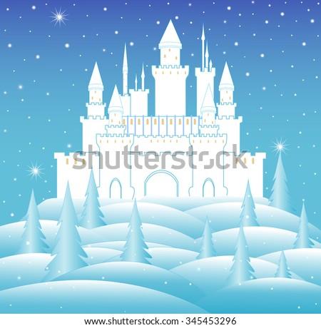 vector snow queen's castle in