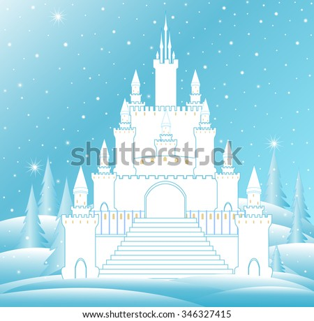 vector snow queen's castle with