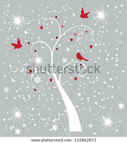 vector snow tree with red birds