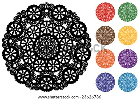 vector - Snowflake Design Lace Round Doily,  9 colors, white background, for celebrations, holidays, crafts, scrapbooks, setting table & cake decorating. EPS8 organized in groups for easy editing.