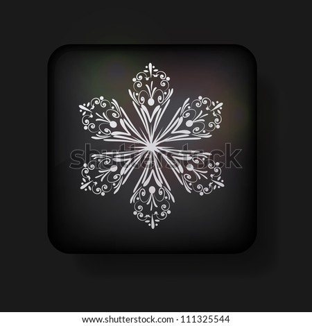 Vector snowflake icon on black background. Eps 10 - stock vector
