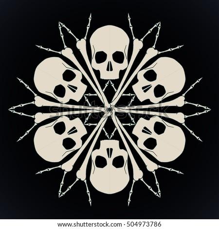 vector snowflake made of skulls