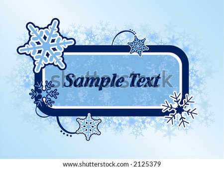 Vector snowflake panel add your own text and greeting.