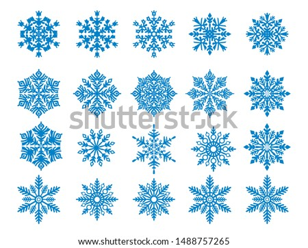 Vector snowflake set blue snowflake s isolated on white background