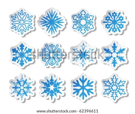 Vector snowflake stickers
