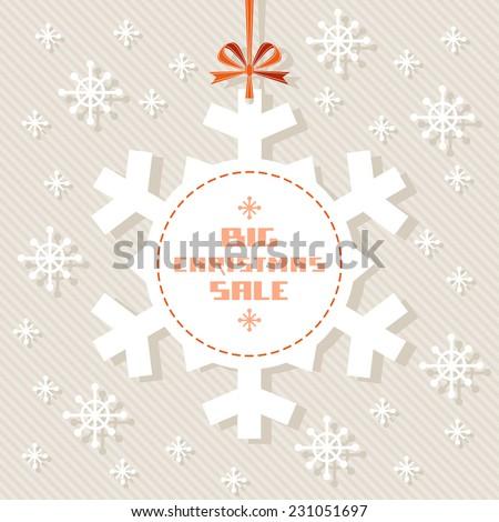 Vector snowflake tag - Christmas sale. Winter vintage background. Decorative illustration for print, web